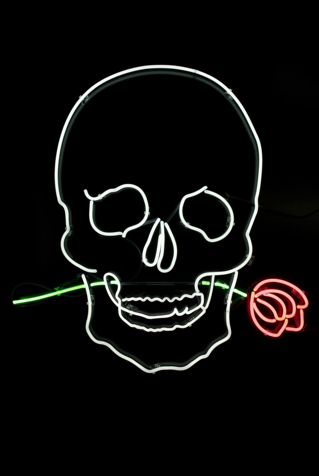1346x2010 Iphone Wallpaper Neon Sign Unique Skull With Rose Neon ...