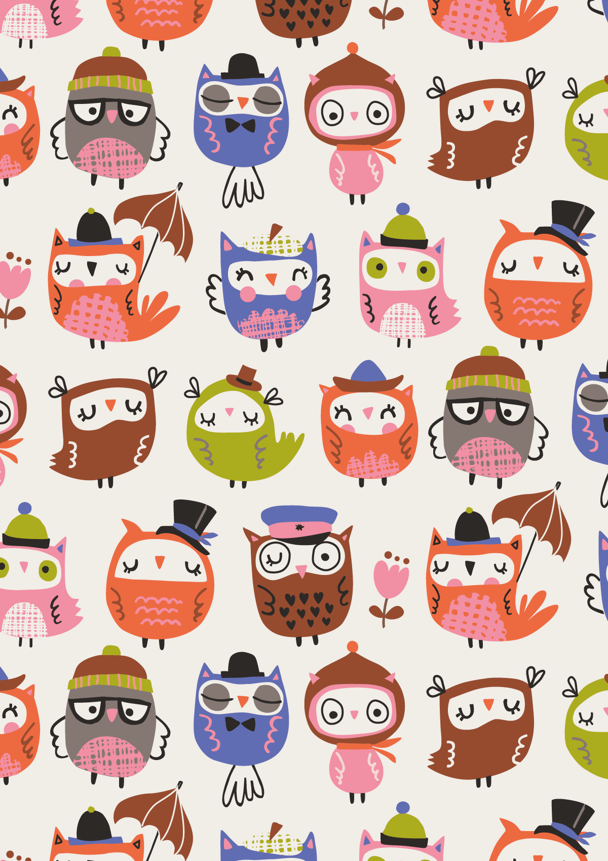 1200x1698 owl pattern | by Inga Wilmink for Jo-Ann Stores… | Phone wallpapers ...