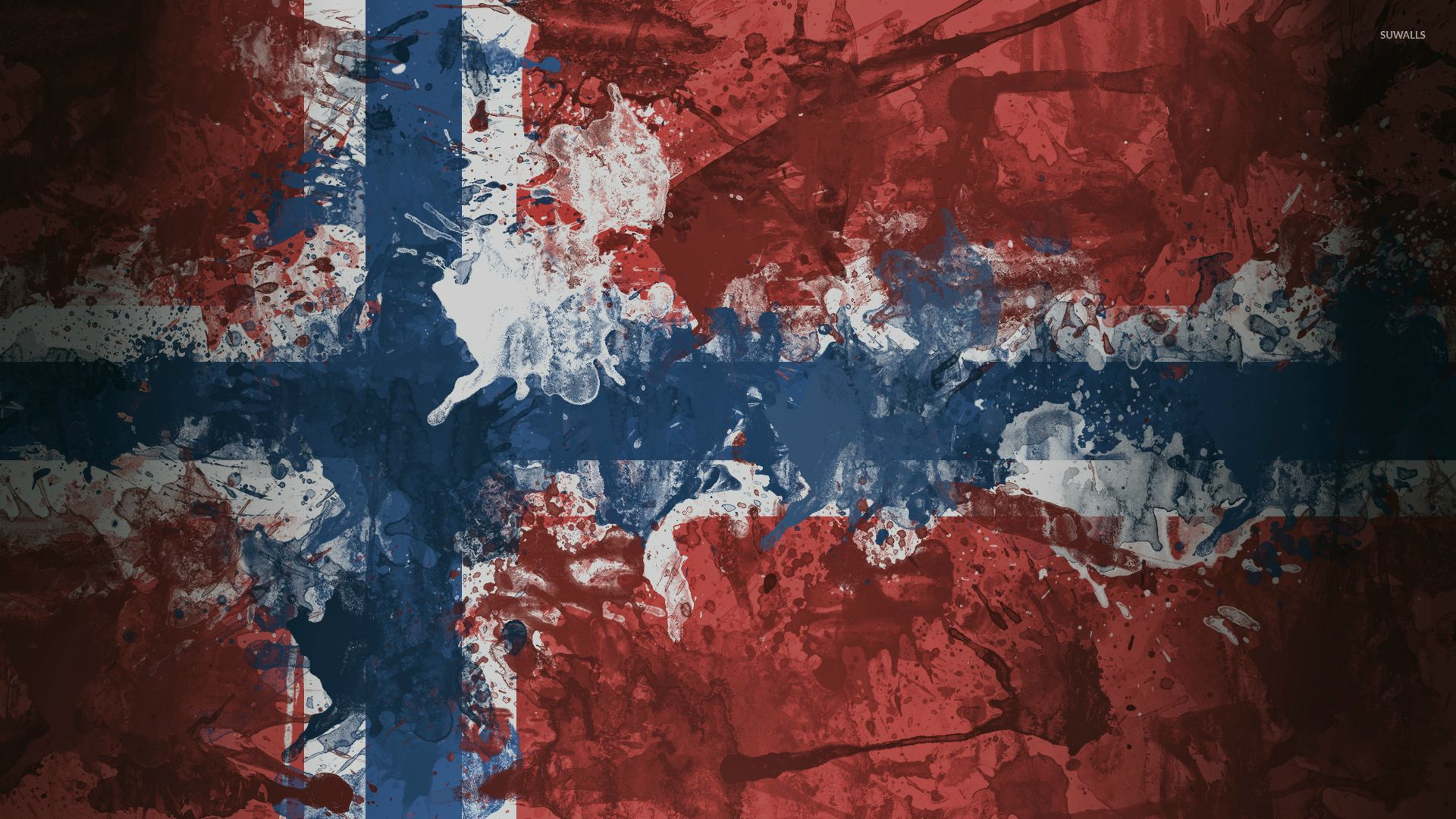 1920x1080 Norway flag with paint drops wallpaper - Digital Art wallpapers - #52584