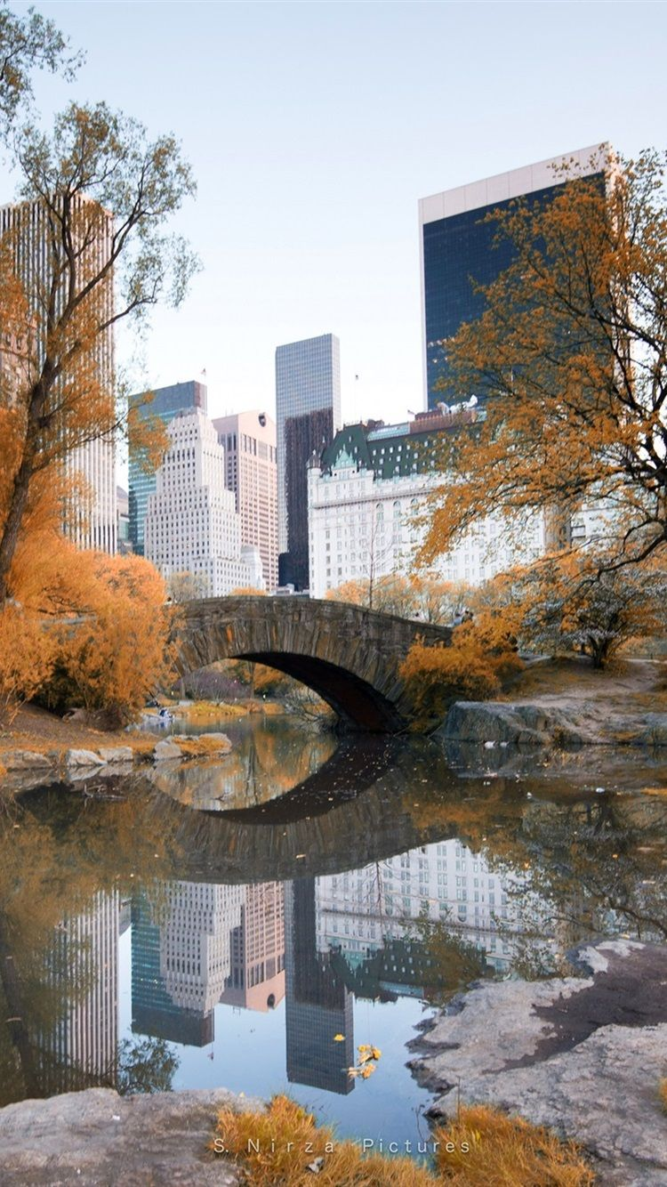 750x1334 New York, Central Park, autumn, trees, water, skyscrapers ...