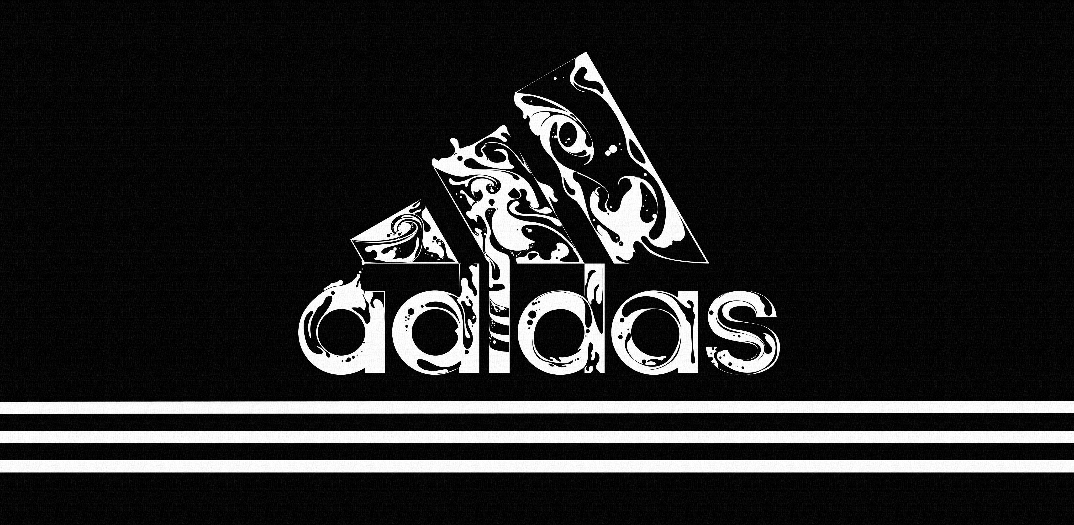 4500x2200 Adidas Logo Black And White HD Wallpaper - Ongur