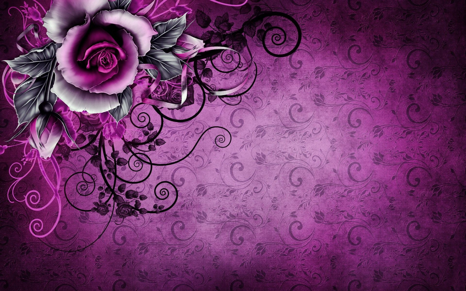 1920x1200 Vintage Rose Abstract Purple wallpapers   Vintage Rose ...