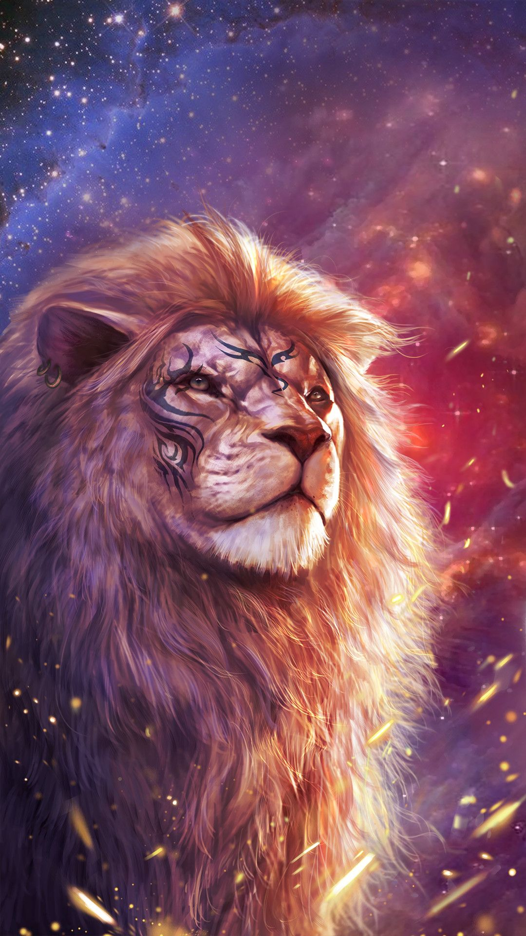 1080x1920 68+ Colorful Lion Wallpapers on WallpaperPlay