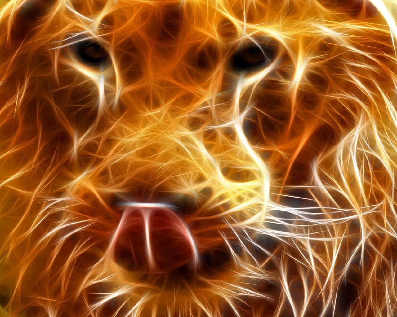 1280x1024 Fire Lion Wallpapers
