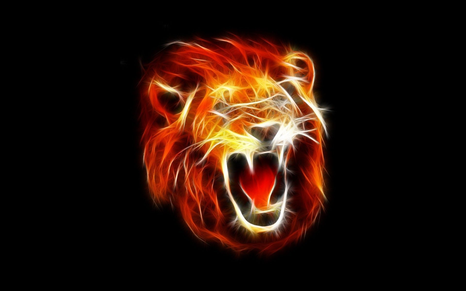 1920x1200 Fire Lion Wallpapers