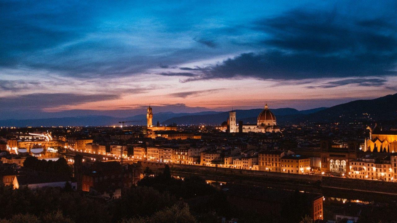 1280x720 florence, italy, night city, t wallpapers | florence, italy ...