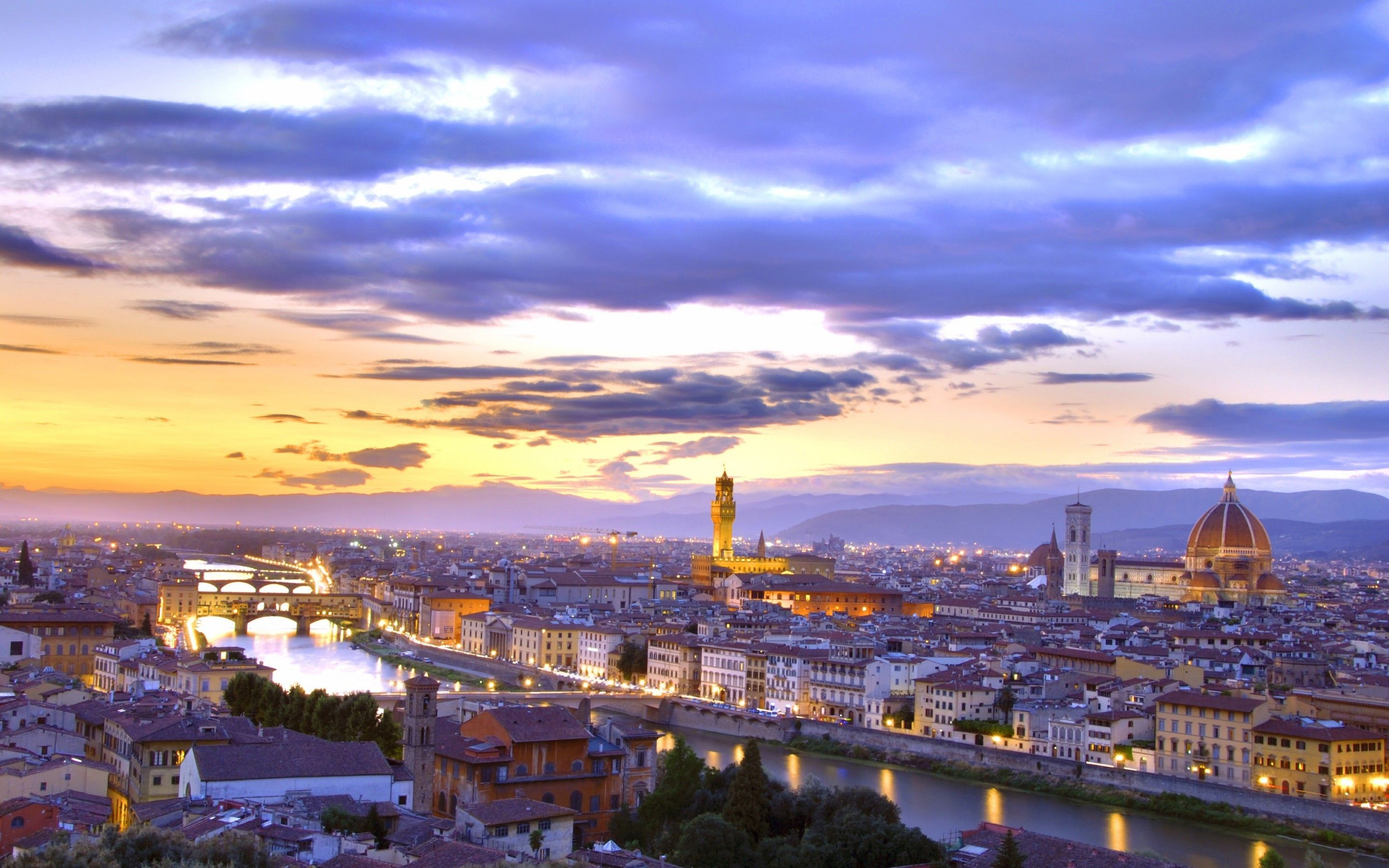2880x1800 Download 2880x1800 Italy, Florence, Canal, Sunset, Cityscape ...