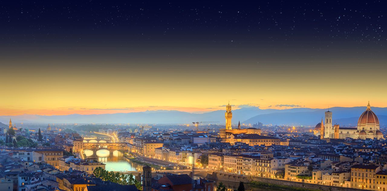 1280x632 Desktop Wallpapers Florence Italy Bridges river night time ...