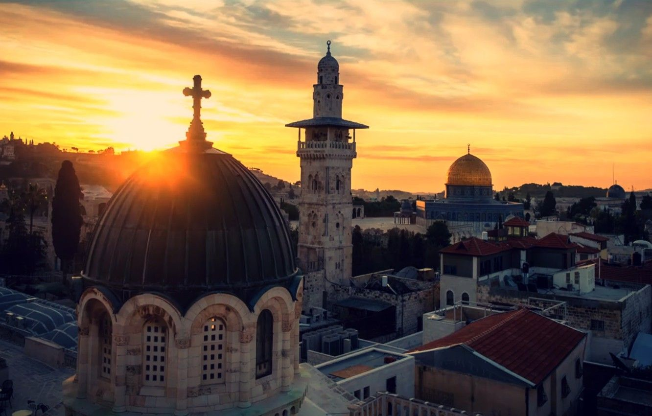 1332x850 Wallpaper sunset, cross, Skyline, Jerusalem, Holy Land ...