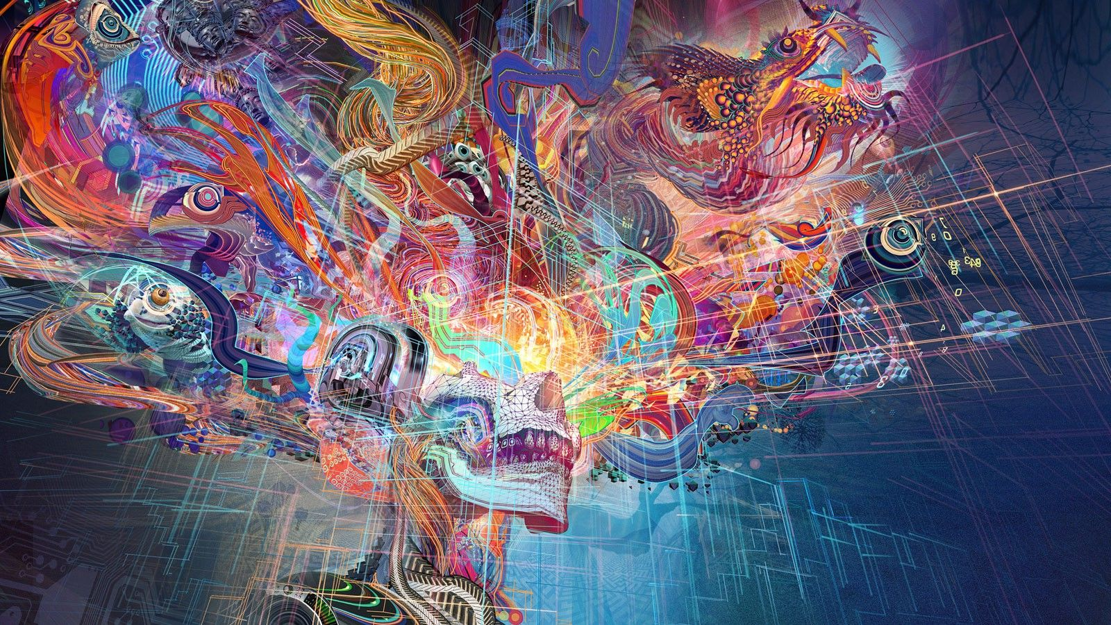1600x900 colorful, Abstract, Skull Wallpapers HD / Desktop and Mobile ...