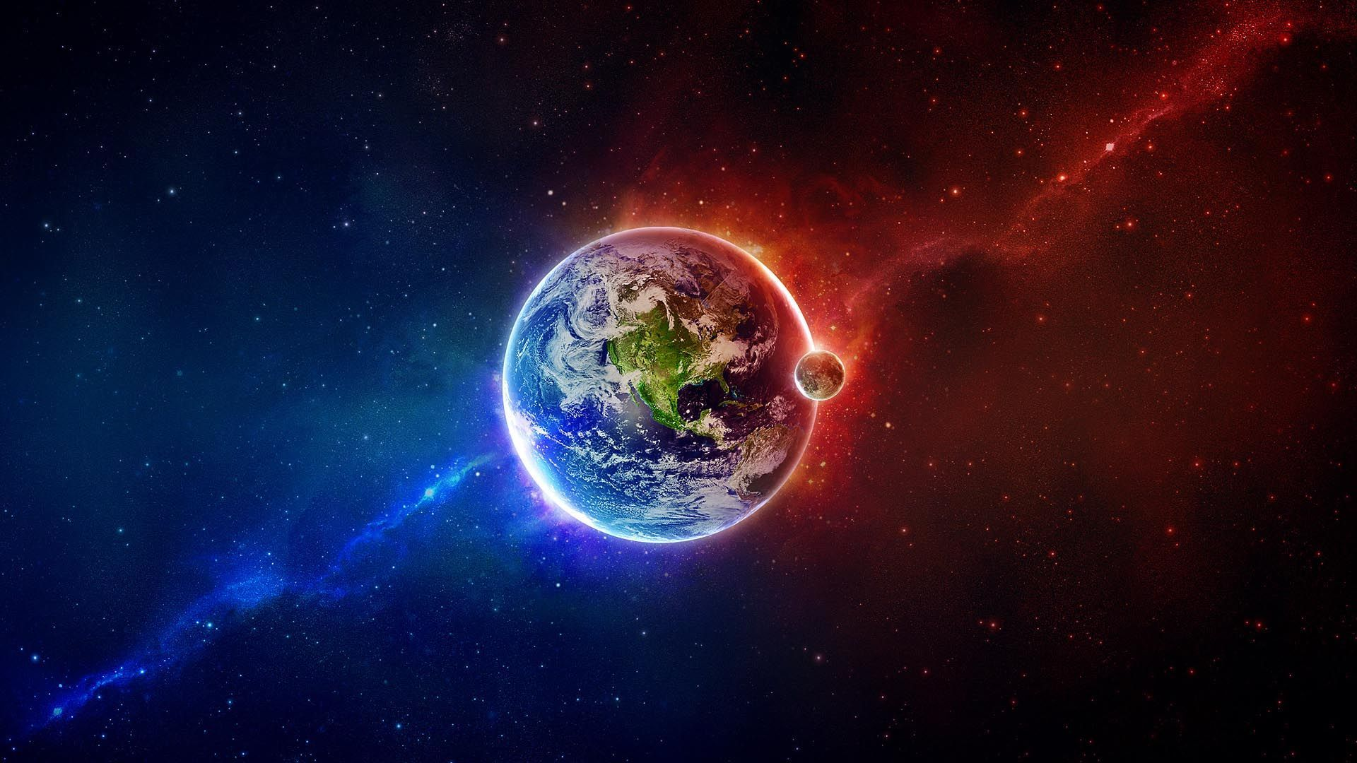 1920x1080 blue with red   Outer Space Earth Moon Red Blue HD Wallpaper ...