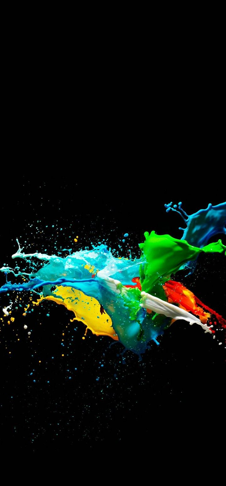 720x1544 Colorful Painted Black Background Wallpaper - [720x1544]