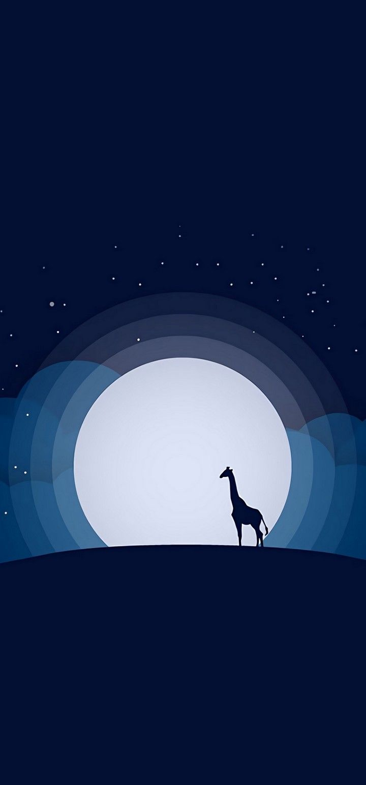 720x1544 Moon Giraffe Hill Wallpaper - [720x1544]