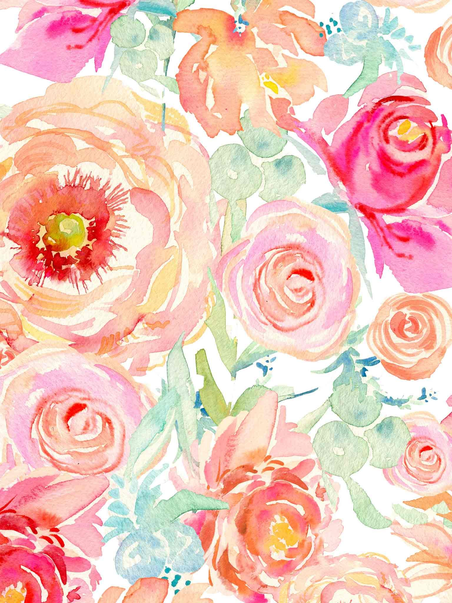 1536x2048 floral watercolor wallpaper - Google Search | Cakes ...