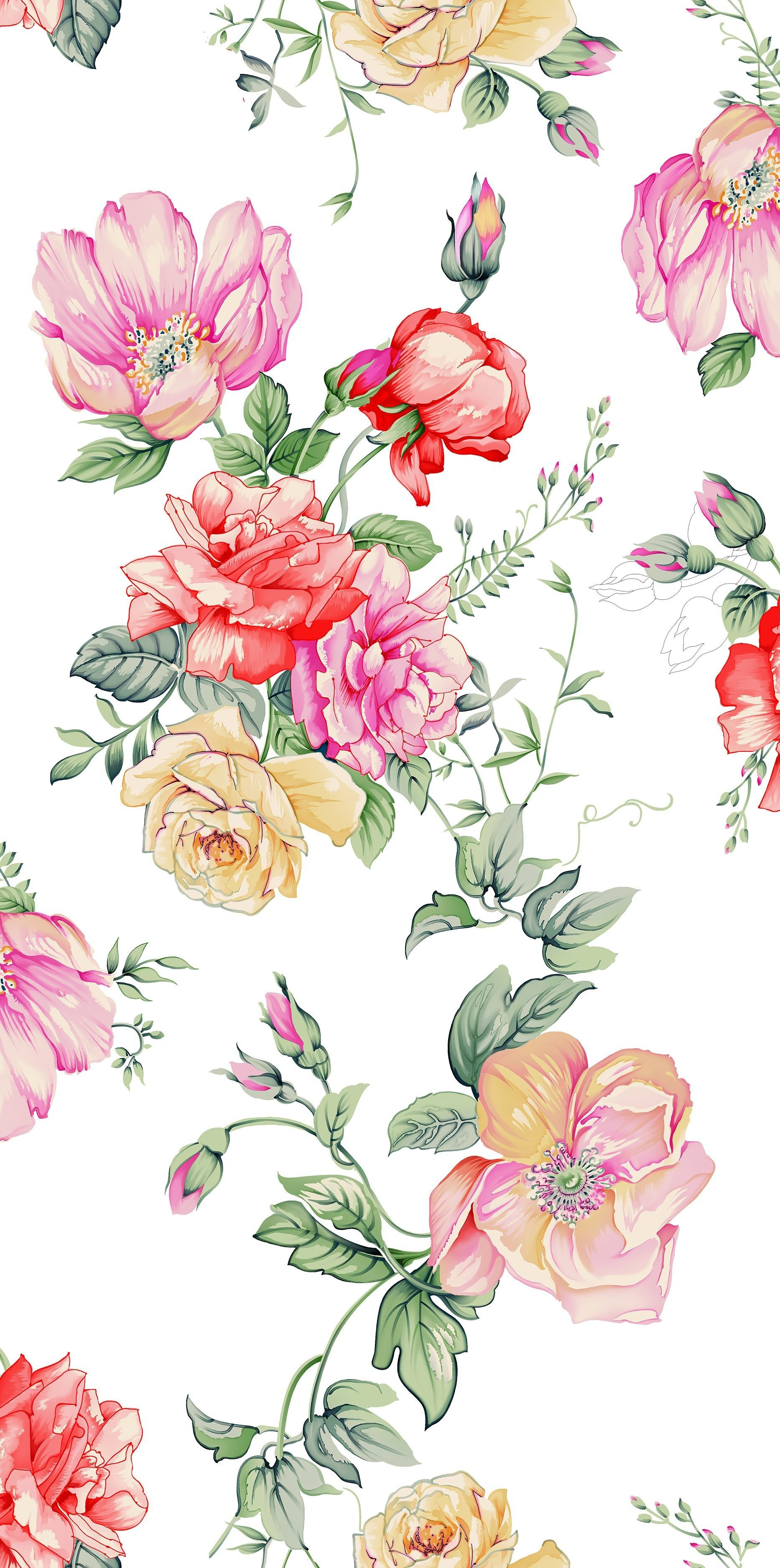 1866x3750 68+ Watercolor Flowers Wallpapers on WallpaperPlay