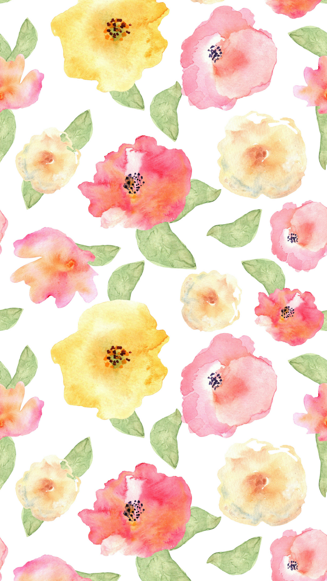 1080x1920 watercolor floral phone background | me in 2019 | Floral ...
