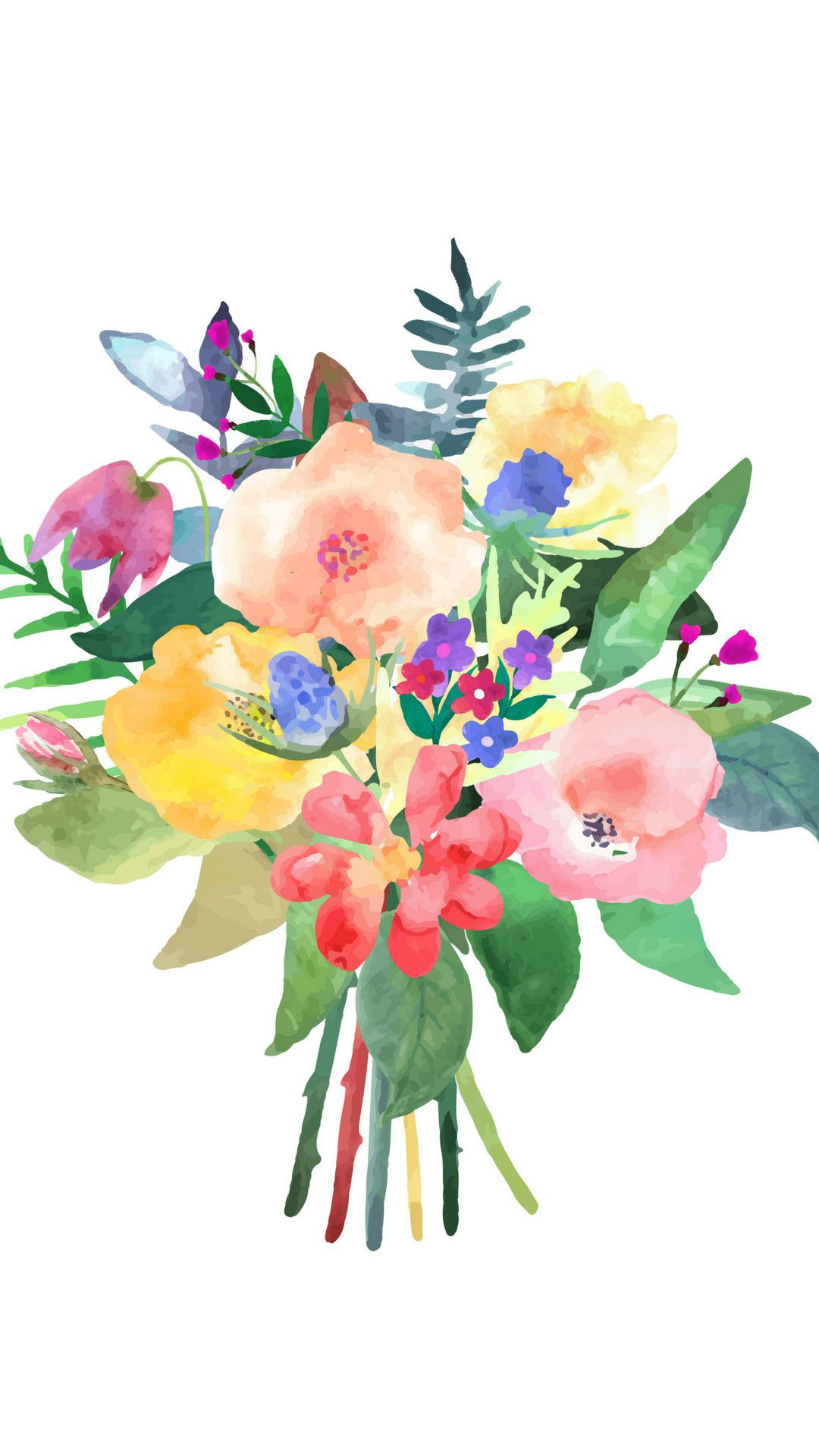 1080x1920 68+ Watercolor Flowers Wallpapers on WallpaperPlay