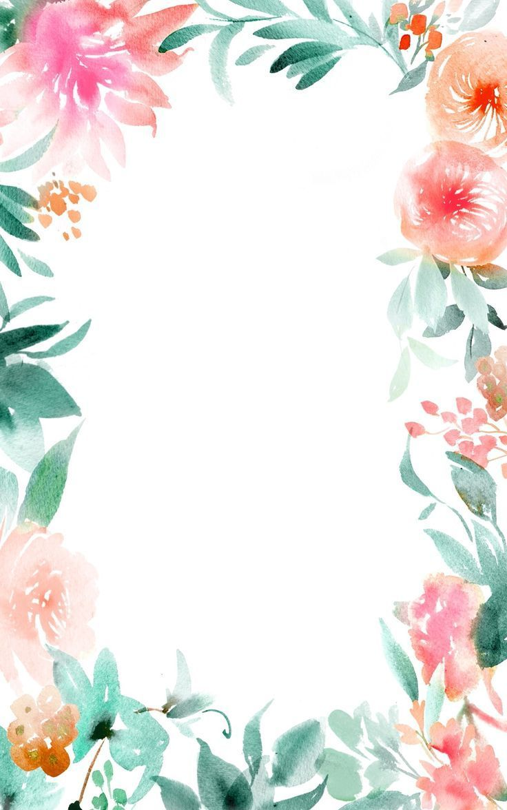 736x1176 45+ Watercolor Flower Border Wallpapers - Download at ...
