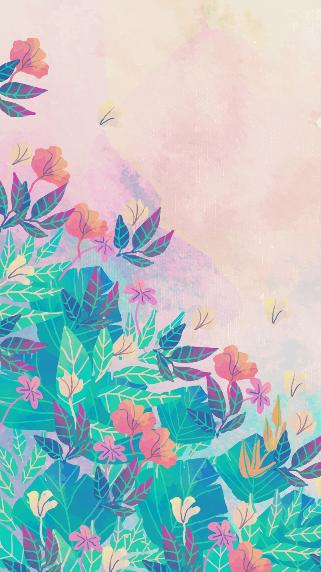 1080x1920 55+ Watercolor Flowers Blue Pink Wallpapers - Download at ...