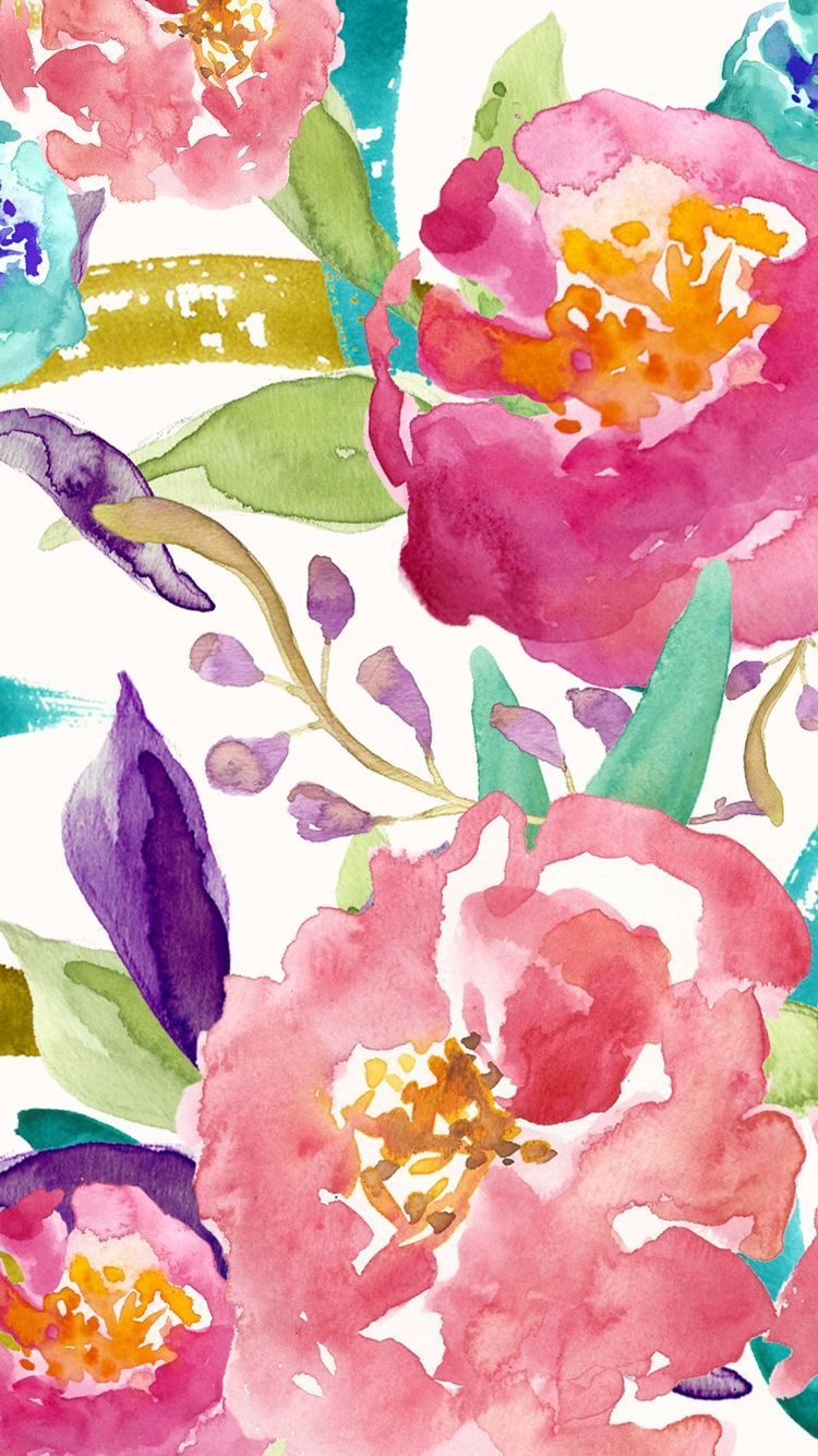 750x1334 Floral designed by bmills ☆ Find more watercolor Android + ...