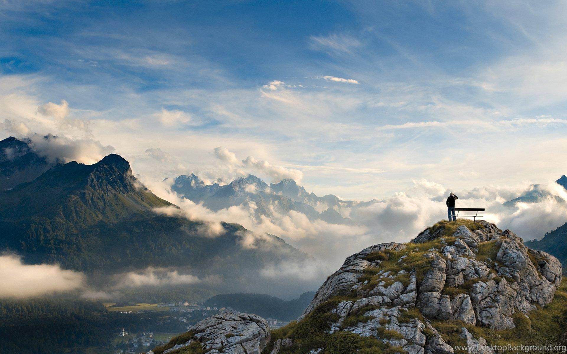 1920x1200 Wallpapers Mountain, Mountains, Man, Bench, Cloud, Top, Bench On A ...