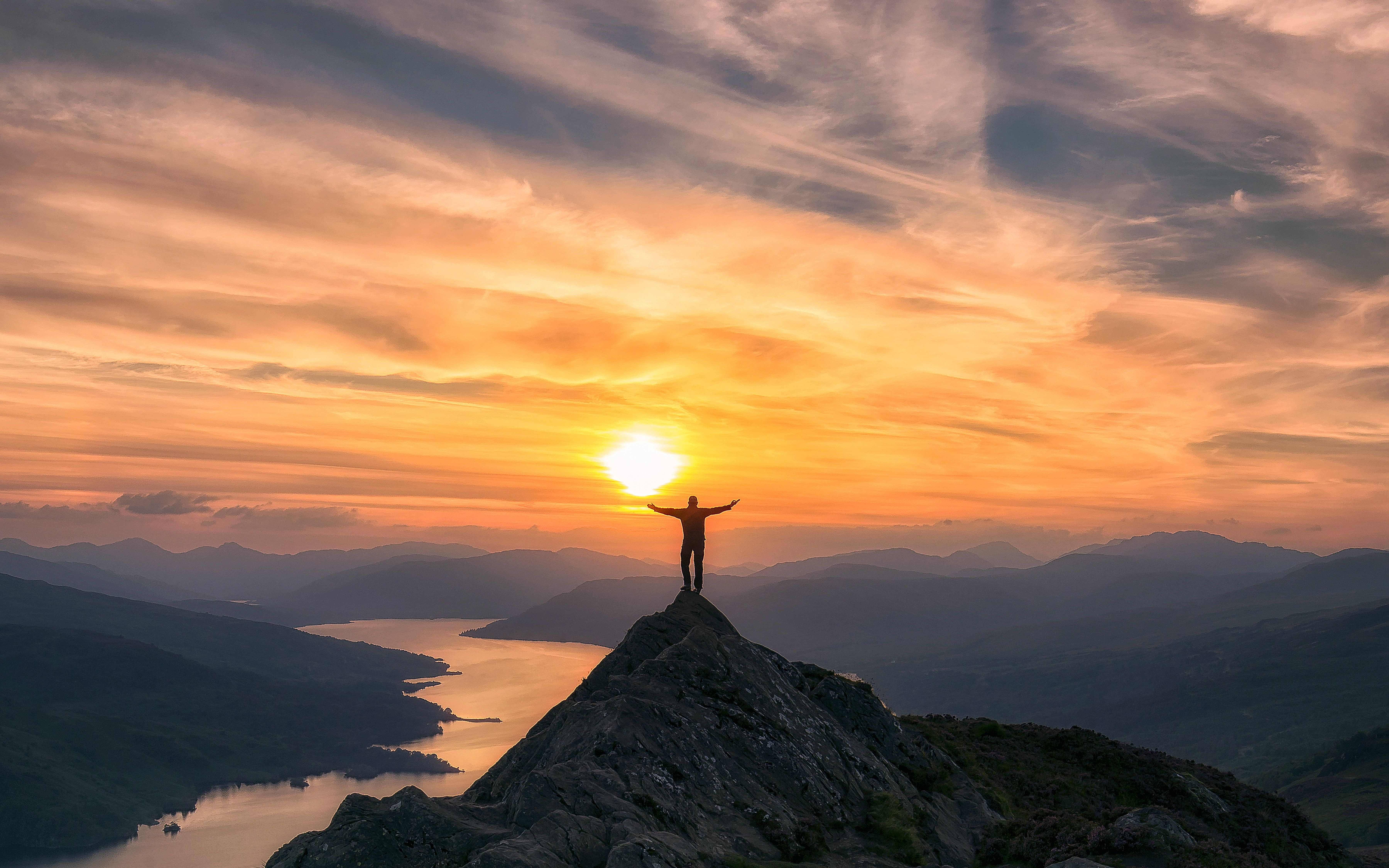 7200x4500 Photo of man on top of mountain during sunset HD wallpaper ...