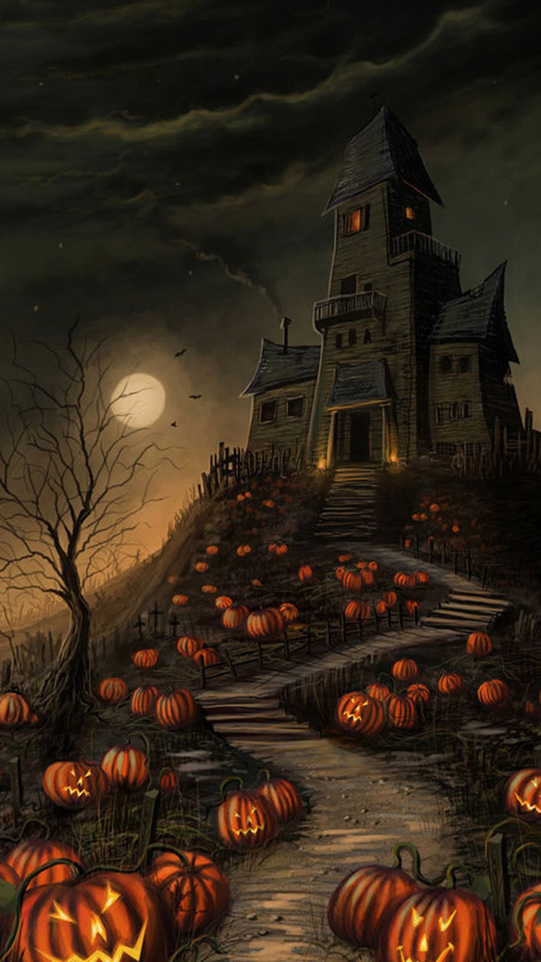 1080x1920 Halloween Haunted House Pumpkin Android Wallpaper free download
