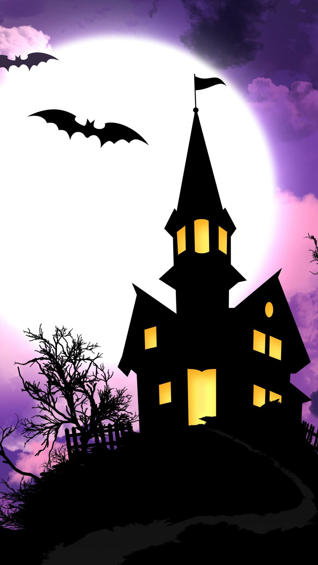 1080x1920 Spooky Halloween House Illustration Android Wallpaper free ...