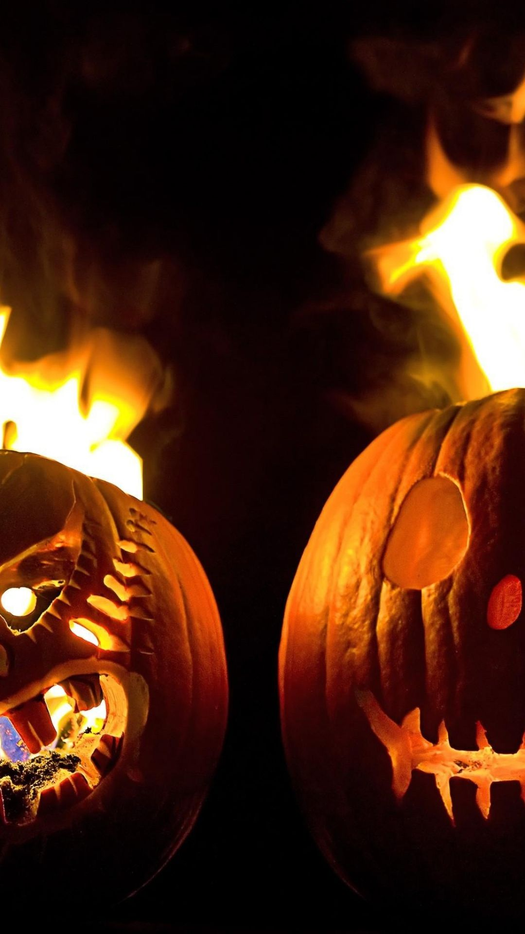 1080x1920 Two Halloween Pumpkins Fire Android Wallpaper free download