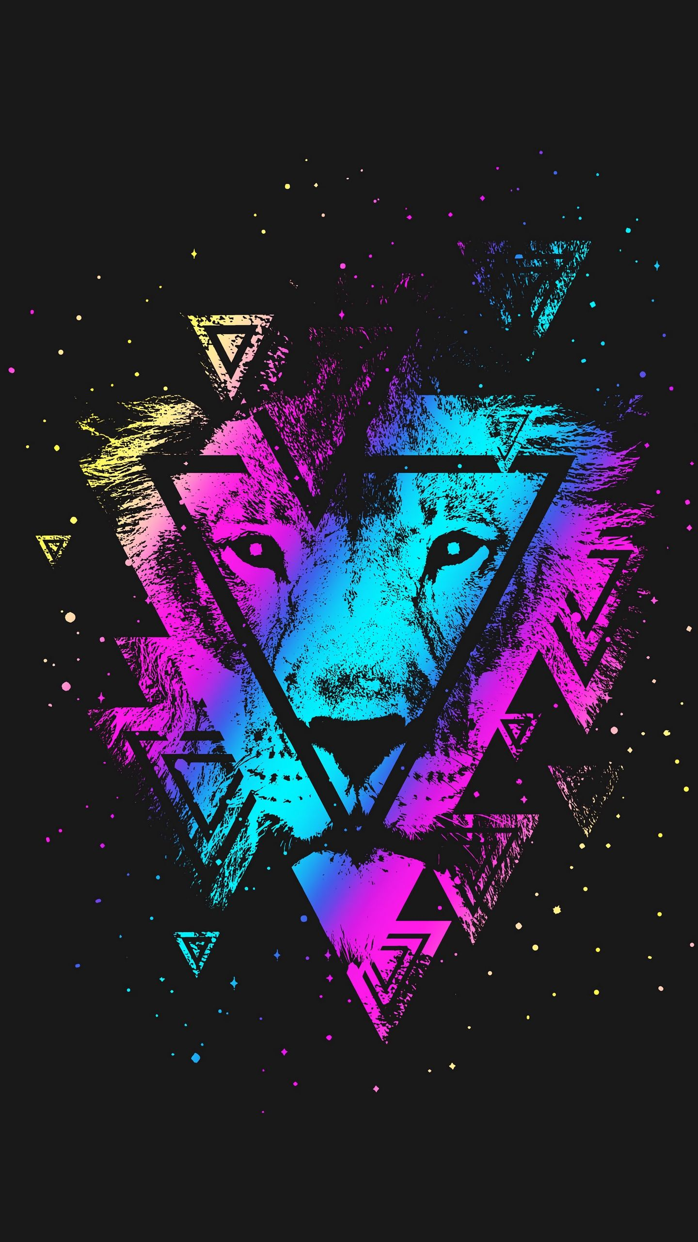 1440x2560 Download wallpaper 1440x2560 lion, colorful, triangle, art ...