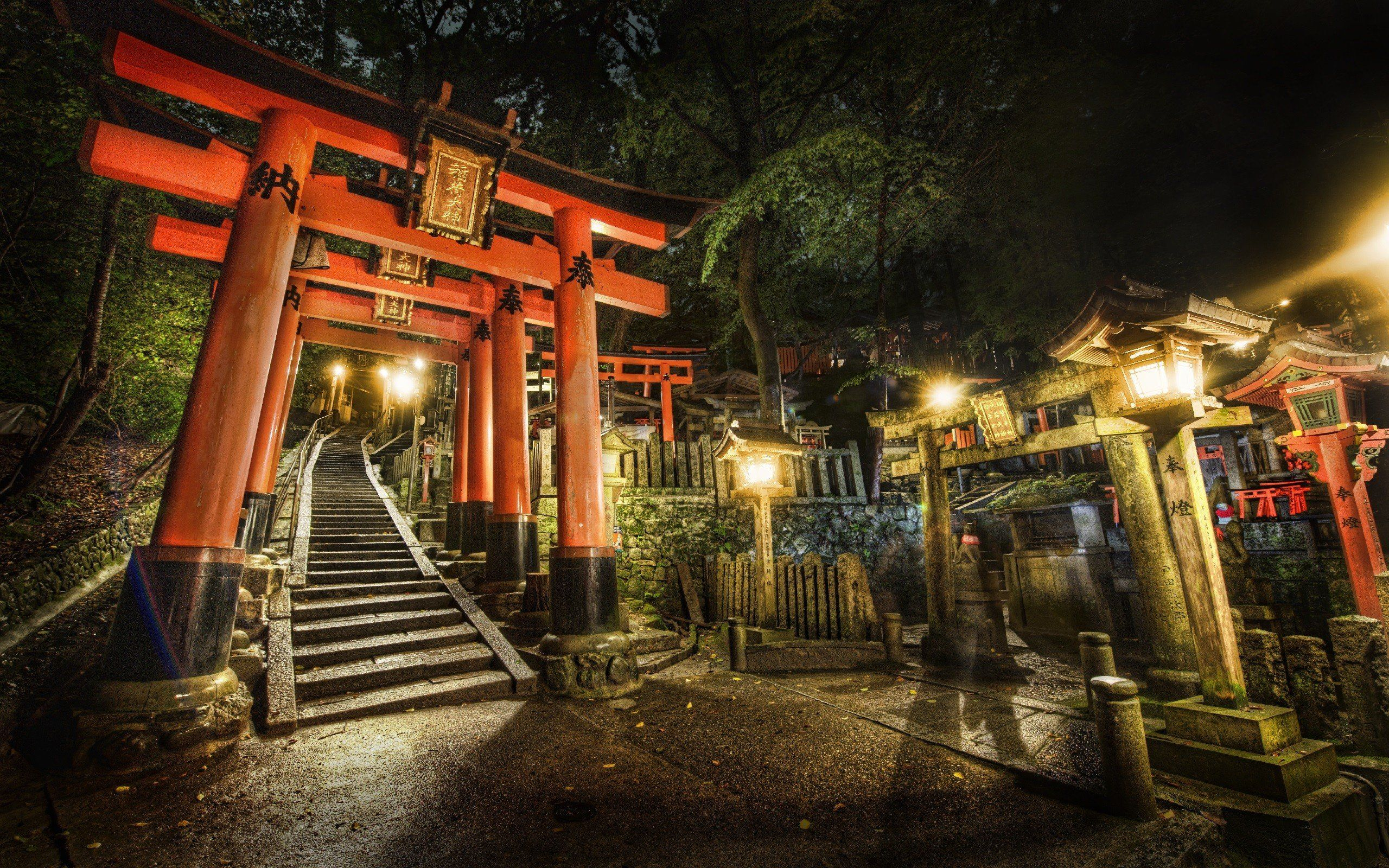 2560x1600 Japan night stairways shrine Kyoto torii cemetery torii gate ...