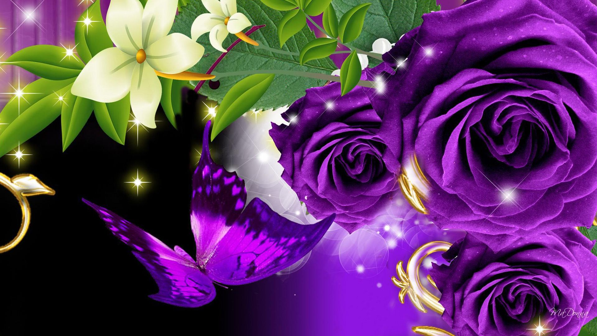 1920x1080 Background Purple Roses (#37471) - HD Wallpaper Download