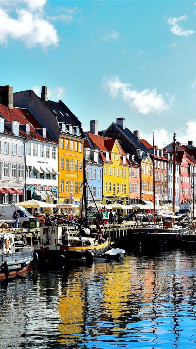 750x1334 Wallpaper Copenhagen, Denmark, river, boats, houses ...