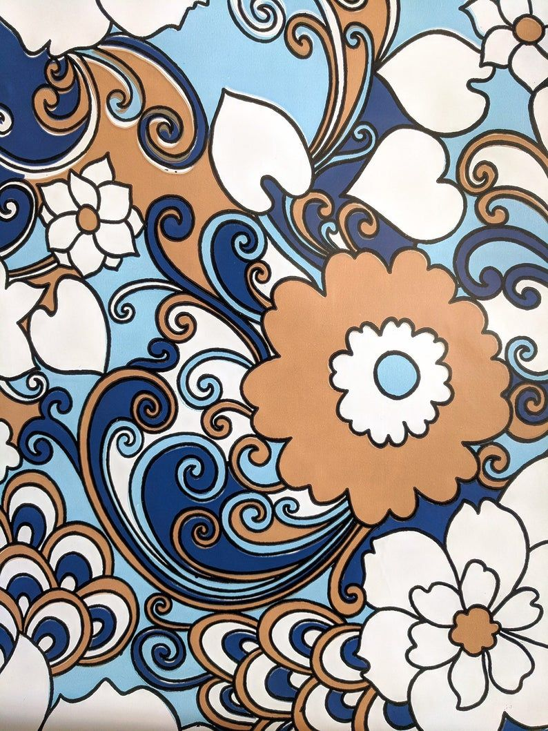 794x1059 60s 70s Bold Graphic Wallpaper Blue White Brown Glossy Retro Wallpaper Big  Flowers Swirls Flower Power Psychedelic Wallpaper By The Yard