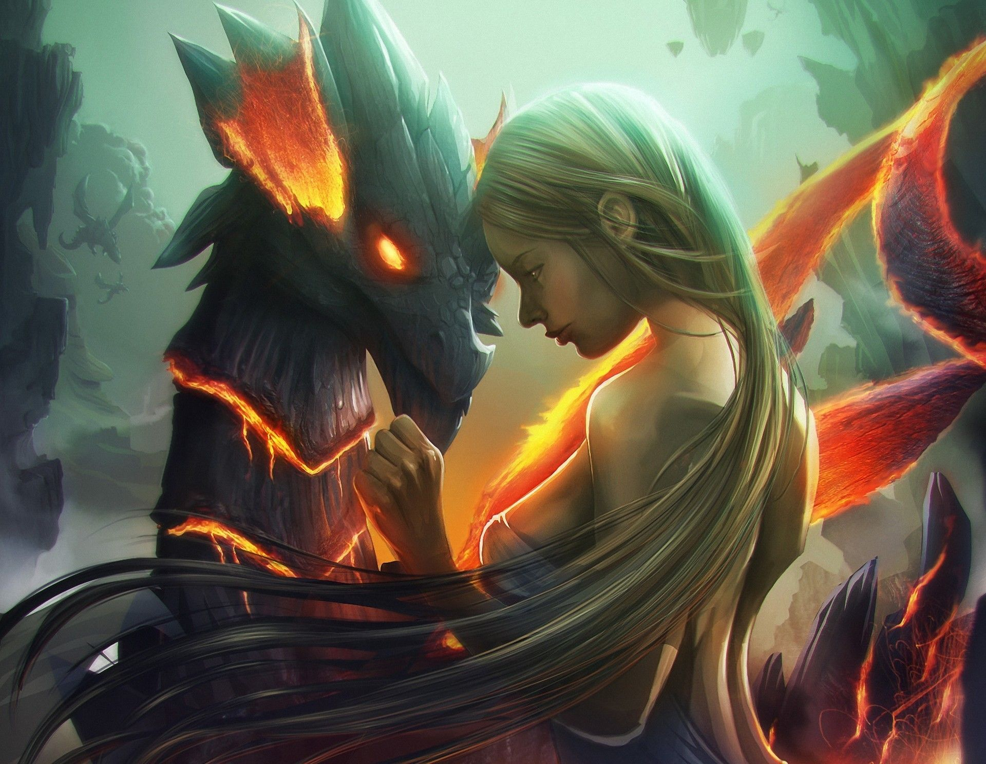 1920x1488 Long-haired girl and the dragon wallpapers and images - wallpapers ...