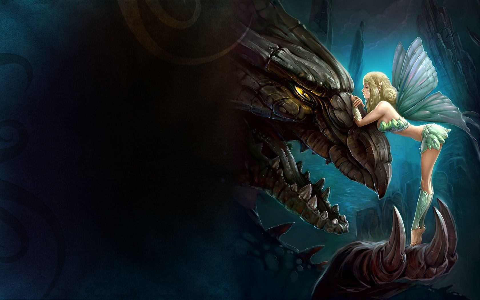 1680x1050 The girl and the dragon wallpapers and images - wallpapers, pictures ...