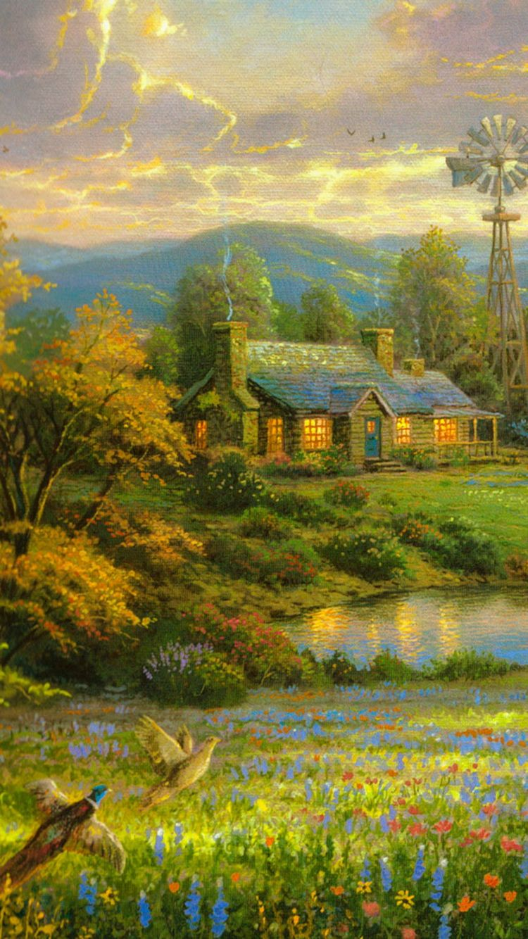 750x1334 Country Home Lake Painting iPhone 6 Wallpaper HD - Free ...