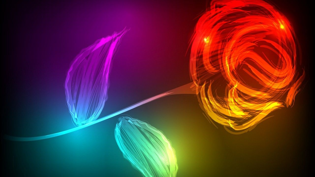 1280x720 Wallpaper Rose, Neon colors, HD, Creative Graphics, #5071