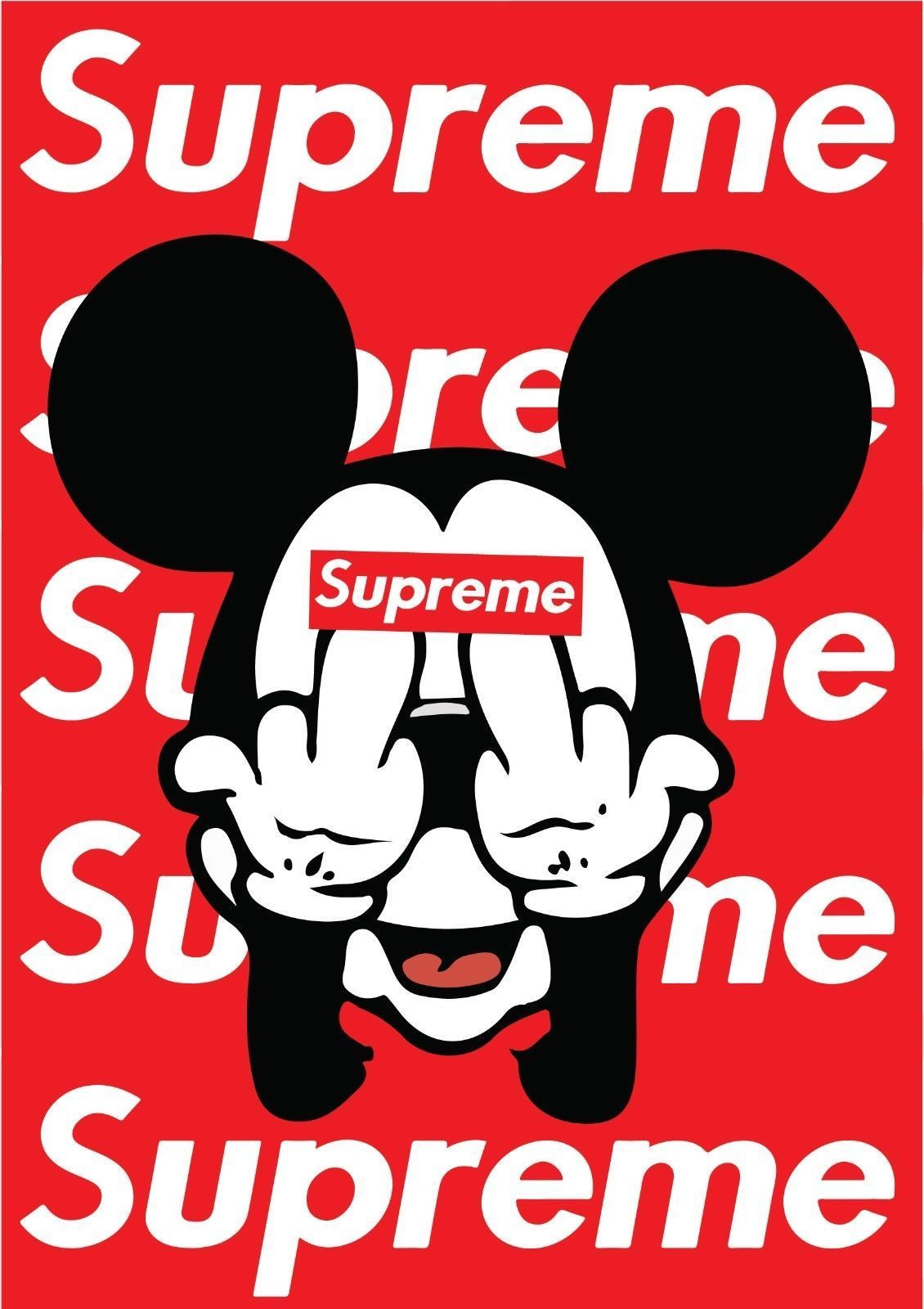 1130x1600 Mickey Mouse Supreme iPhone Wallpapers