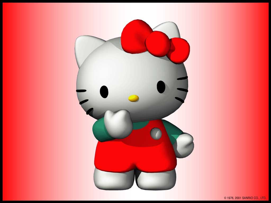 1024x768 Hello Kitty 3D Wallpapers