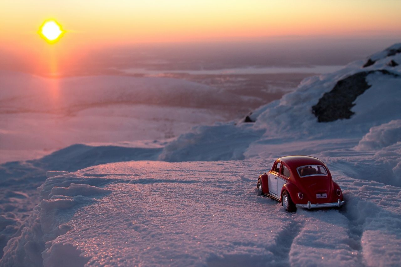 1280x853 Wallpaper Sun Nature Vintage Snow Sunrises and sunsets Cars toy