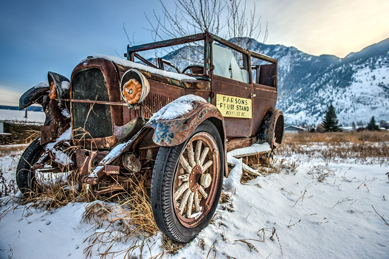 1280x854 Wallpapers Retro Snow Old Cars