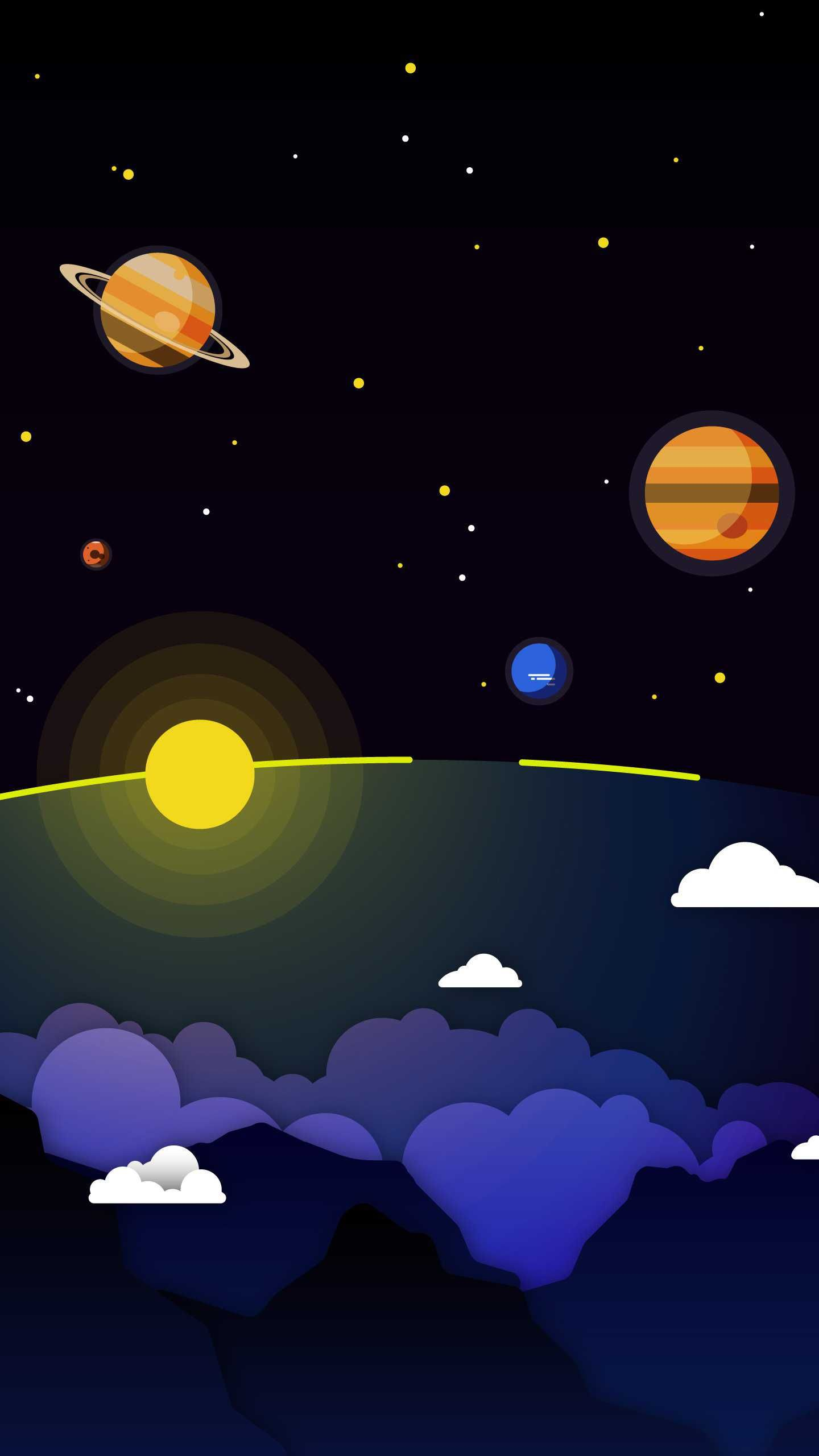 1440x2560 Minimal Solar System Clouds Planets iPhone Wallpaper ...