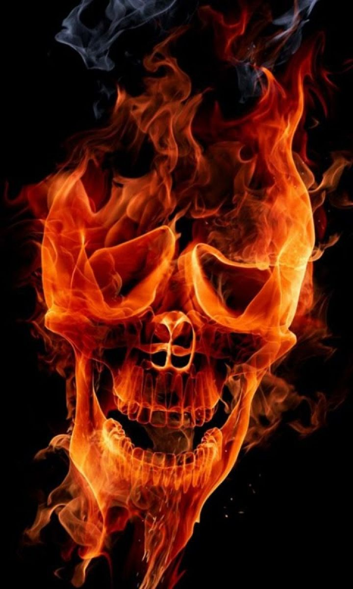 720x1200 Animated Wallpaper For Mobile Screen - Skull In Fire 3d ...
