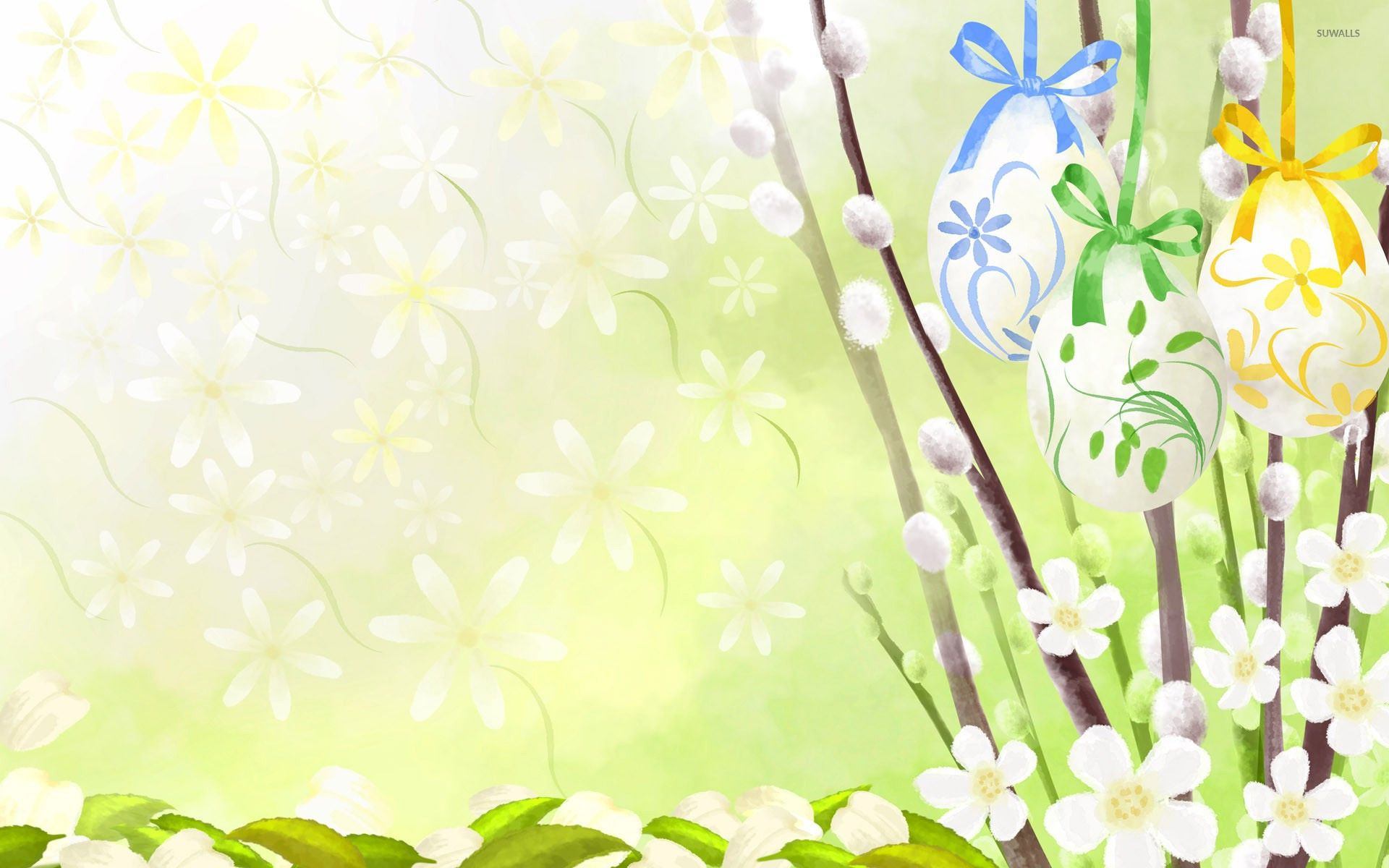 1920x1200 Easter eggs and flowers wallpaper - Vector wallpapers - #11957