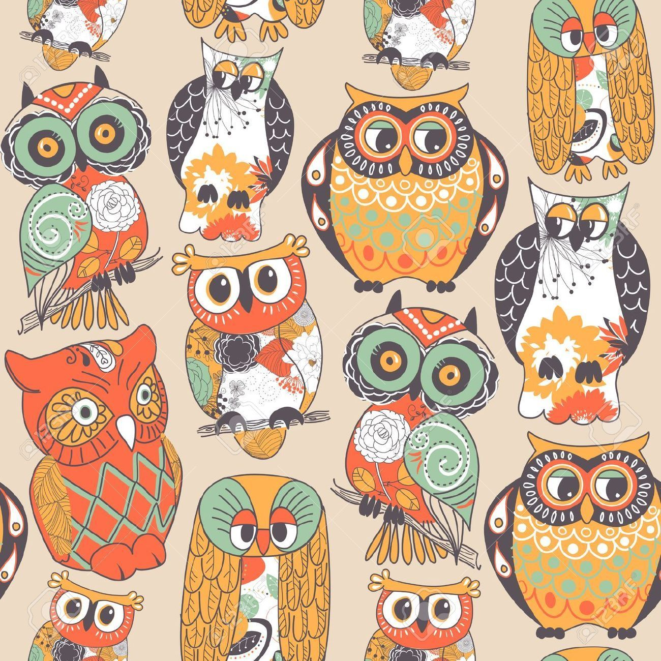 1300x1300 50+ Vintage Fall Owl Wallpapers - Download at WallpaperBro