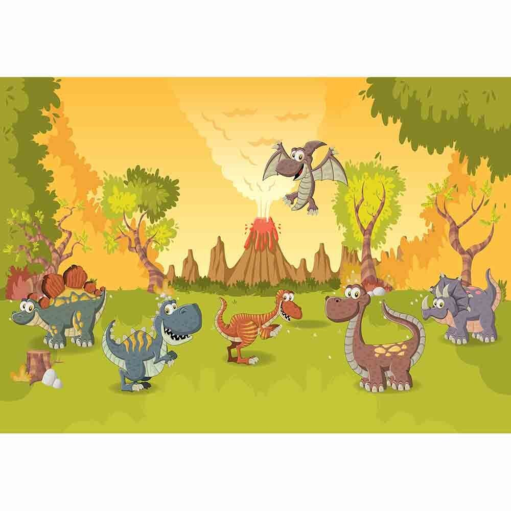 1000x1000 US $9.45 32% OFF|Allenjoy photophone volcanic eruptions trees grassland  cute cartoon Wallpapers children baby dinosaur party photography  backdrop-in ...