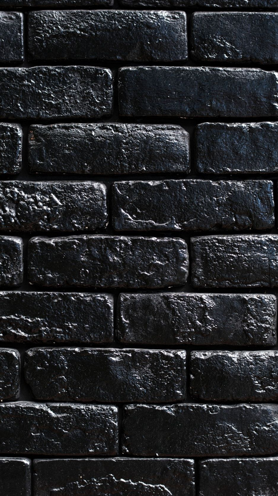 938x1668 Download wallpaper 938x1668 wall, bricks, black, paint ...