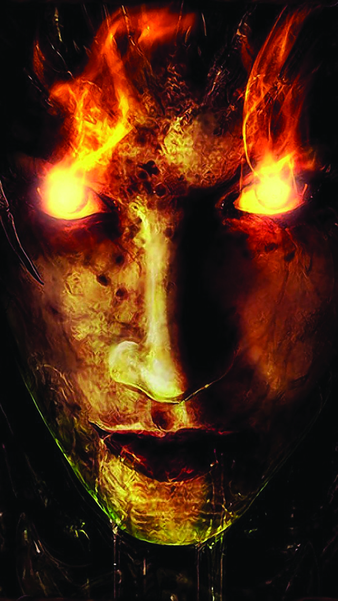 1080x1920 Fire Demon Glowing Eyes Halloween Android Wallpaper free ...