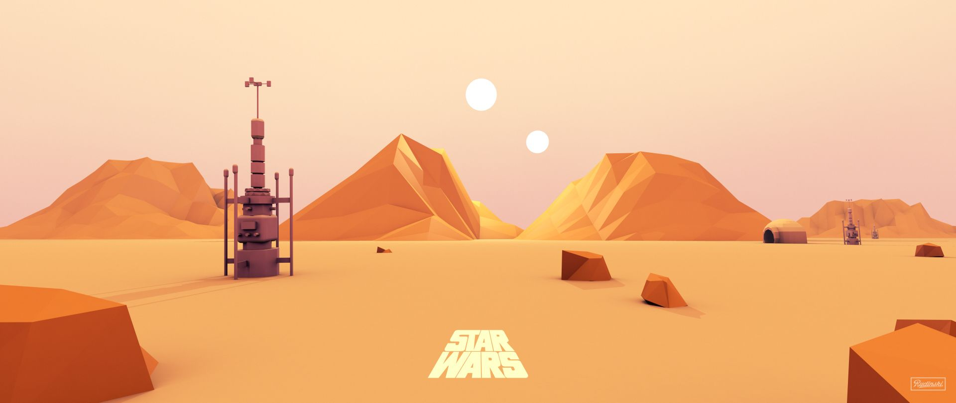1920x810 Made a low-poly Tatooine last night for fun : StarWars